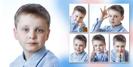 Разворот с портретами мальчика