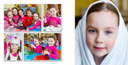 Занятия в группе и игры и выпускной фотоальбом девочки