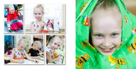 Прогулка, аппликация, чистописание, обед в детском саду для фотоальбома